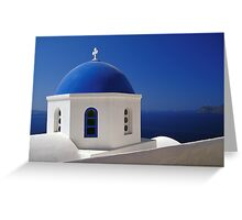 Whitewashed Church with Blue Dome, Santorini Greeting Card