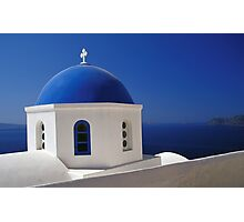 Whitewashed Church with Blue Dome, Santorini Photographic Print