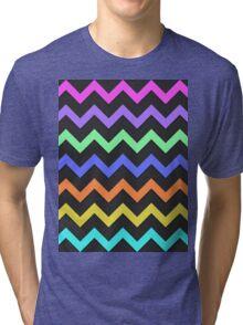 Pink Purple Green Blue Orange Yellow Black Summer Fun Chevron Tri-blend T-Shirt