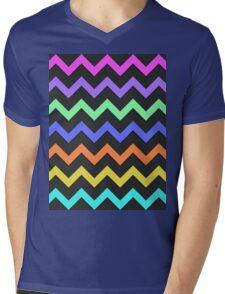 Pink Purple Green Blue Orange Yellow Black Summer Fun Chevron Mens V-Neck T-Shirt