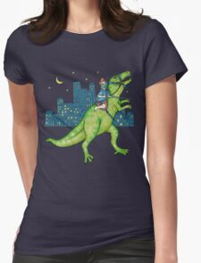 Dino Rider Womens Fitted T-Shirt