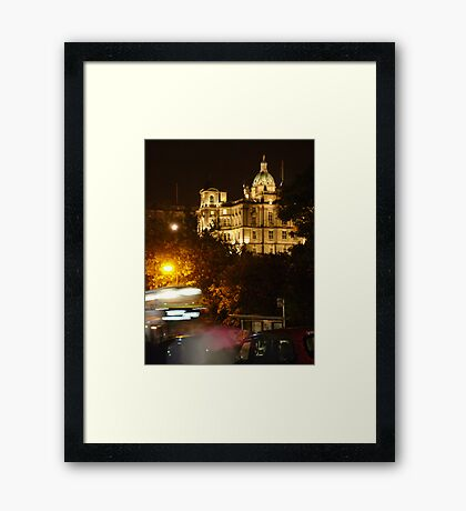 Edinbustle! (busy street, night in Scotland's capital) Framed Print