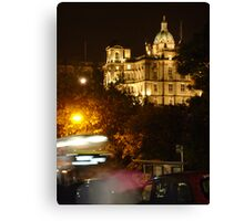 Edinbustle! (busy street, night in Scotland's capital) Canvas Print