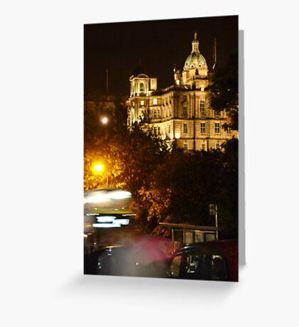 Edinbustle! (busy street, night in Scotland's capital) Greeting Card