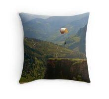 Paragliding over Manali Throw Pillow