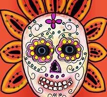 DAY OF THE DEAD, DIA DE LOS MUERTOS SKULL by Frances Perea