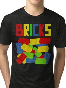 Colored Bricks [Large] by Customize My Minifig Tri-blend T-Shirt
