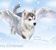 Angel puppy christmas card by Mariann Rea