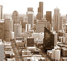 Seattle Skyline from the Space Needle in Sepia by AuntDot