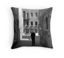 Lonely old man in Italy Throw Pillow