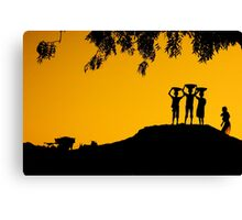 The Golden Hour in a Village Canvas Print