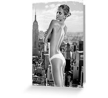 Girl grunge teen black white fashion style wave ass butt funny grey blonde Greeting Card