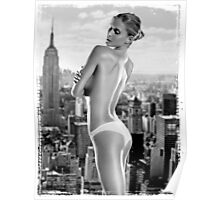 Girl grunge teen black white fashion style wave ass butt funny grey blonde Poster