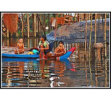 Washday in Kompong Phluk Photographic Print