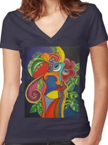 Head With Plants Women's Fitted V-Neck T-Shirt