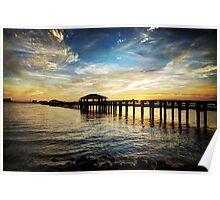 Biloxi Bay Sunset with Pier Poster