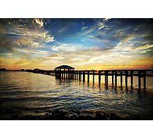 Biloxi Bay Sunset with Pier Photographic Print