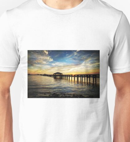 Biloxi Bay Sunset with Pier Unisex T-Shirt