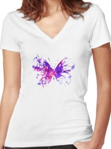 Watercolor Butterfly Women's Fitted V-Neck T-Shirt