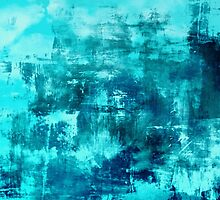 OFF THE GRID 8 Colorful Coastal Fine Art Abstract Watercolor Acrylic Monochrome Turquoise Aqua Teal Painting by EbiEmporium