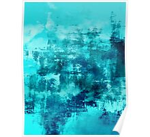 OFF THE GRID 8 Colorful Coastal Fine Art Abstract Watercolor Acrylic Monochrome Turquoise Aqua Teal Painting Poster