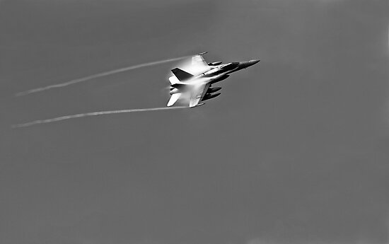 F 18 Jet with a Vapor Trail by Buckwhite