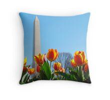 Washington Monument - Spring Time Throw Pillow