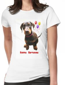 Dolly Doberman Birthday Womens Fitted T-Shirt