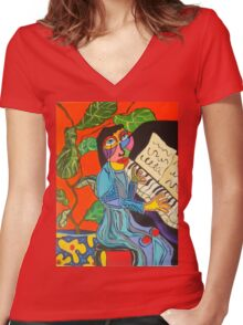 Piano Lady Women's Fitted V-Neck T-Shirt