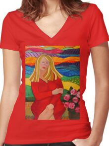 Girl On A Bench Women's Fitted V-Neck T-Shirt
