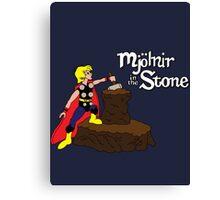 Mjolnir in the Stone (Comic Version) Canvas Print