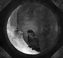 The Crow and its Moon (black and white version) by barruf