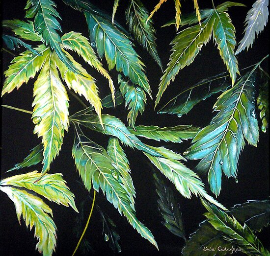 Maple Leaves - Abstract by © Linda Callaghan