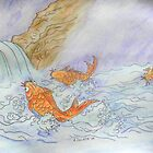 Koi in a Waterfall by Alexandra Felgate