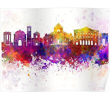 Ancona skyline in watercolor background Poster