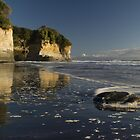 Mount Taranaki viewed from small beach on the Waikato Coast by Paul Mercer