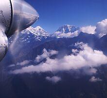 FLYING INTO LUKLA FROM KATHMANDU by Betsy  Seeton
