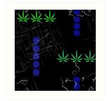 Marijuana Leaves and Scratches Art Print