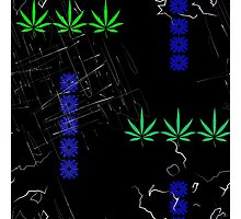 Marijuana Leaves and Scratches Photographic Print