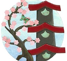 Zen Birdhouse and Blossoms by Amy Sue Stirland
