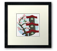 Zen Birdhouse and Blossoms Framed Print