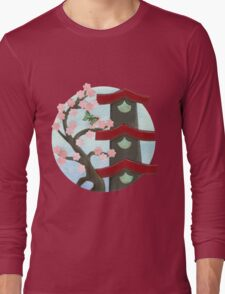 Zen Birdhouse and Blossoms Long Sleeve T-Shirt