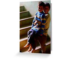 BOYS AT NEPALI ORPHANAGE GOOFING AROUND Greeting Card