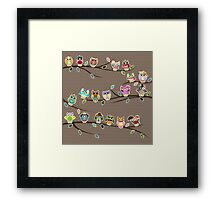 Cute Little Owls on a Branch with Polka Dots Framed Print