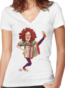 Alfred (Weird Al) Yankovic and Harvey the Wonder Hamster Women's Fitted V-Neck T-Shirt