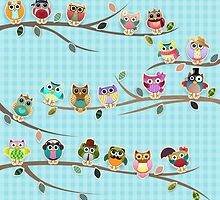 Cute Owls on a Branch with Stripes by kennasato