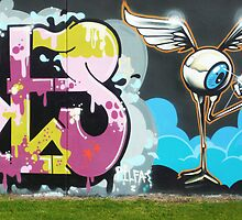 Flying Eyeball Graffiti by Roz McQuillan