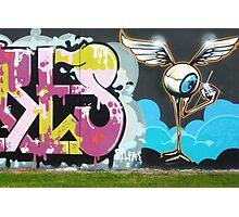 Flying Eyeball Graffiti Photographic Print