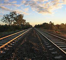 Glenrowan rail tracks at dawn by Bellarine