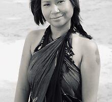 Beach Girl In Sarong by Nicholas Richardson